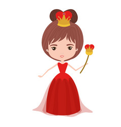 queen with crown and scepter in red dress on white vector image