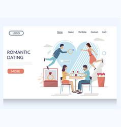 Romantic dating website landing page design vector
