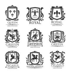 Royal heraldry emblems heraldic animals icons vector