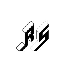Rs - monogram or logotype isometric 3d font for vector
