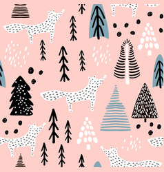 Seamless winter pattern with fox tree and ink vector