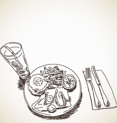 Sketch of food vector