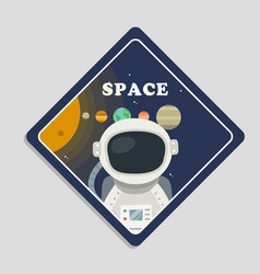 Space astronaut planets in solar system background vector