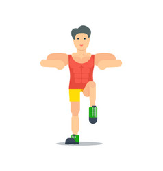 sporty boy doing exercise icon vector image