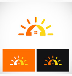 Summer house sun solar logo vector