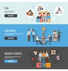Teamwork management flat interactive horizontal vector