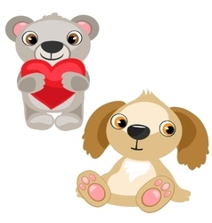 Teddy bear with heart and dog stuffed baby toy vector