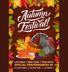 thanksgiving autumn festival flyer cartoon turkey vector image