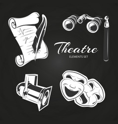 Theatre symbols set on chalkboard vector