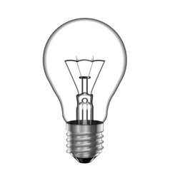 Transparent light bulb with a tungsten filament vector