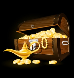 Treasure chest of coins and aladdins magic lamp vector