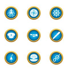 Undersea world icons set flat style vector