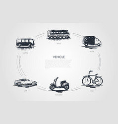 vehicle - train car shuttle truck bike vector image