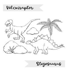velociraptor and stegosaurus isolated vector image