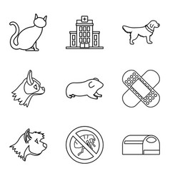 veterinary surgeon icons set outline style vector image