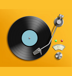 vintage record player with retro vinyl disc vector image