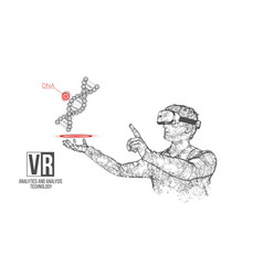 vr wireframe headset man with dna code vector image