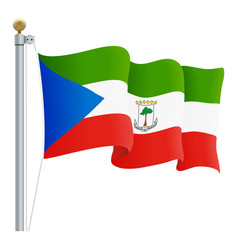 waving equatorial guinea flag isolated on a white vector image