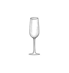 wine glass engraving of wineglass utensils sketch vector image