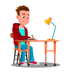 Writing boy at the table with desk lamp vector