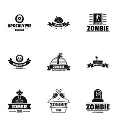 Zombie way logo set simple style vector