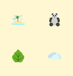 flat icons isle beach bear foliage and other vector image vector image