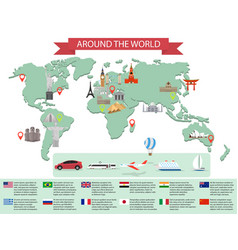 Infographic world landmarks on map vector image vector image