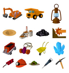 Mining industry cartoon icons in set collection vector