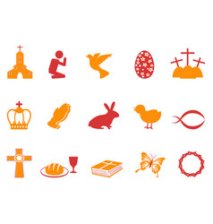 orange and red color easter day icons set vector image