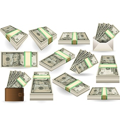 Set of Ten Dollars Banknotes vector image vector image