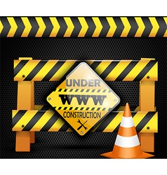 Under construction sign on background black vector image