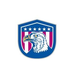 American Bald Eagle Head Side Stars Retro vector image