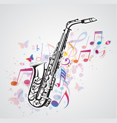 music notes and saxophone vector image vector image