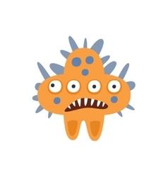 Orange star shape aggressive malignant bacteria vector