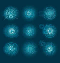 set of blue infographic elements interface virtual vector image