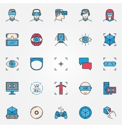 Virtual reality colorful icons vector image