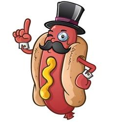 Hot Dog Gentleman Cartoon Character vector image vector image