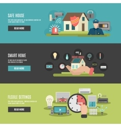 Smart home 3 flat interactive banners vector image