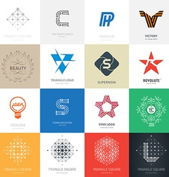 Big set of logos with stars letters lamp maze and vector image
