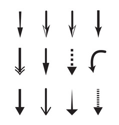 down arrow icon on white background down arrow vector image vector image