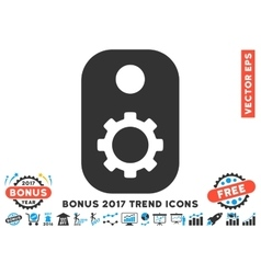 Gear Tag Flat Icon With 2017 Bonus Trend vector image vector image
