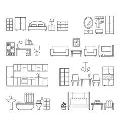 Home related icons Furniture for different rooms vector image