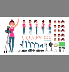 photographer female animated woman vector image vector image