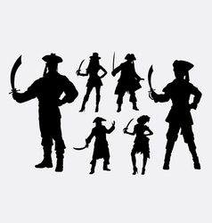 Pirates male and female silhouette vector