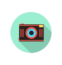 red and brown photo camera in green circle vector image