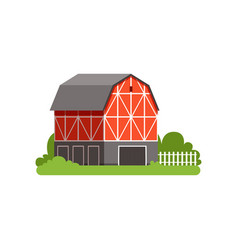 red barn farm agricultural building countryside vector image vector image