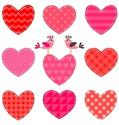 Set of red and pink hearts and birds vector image