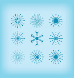 winter detail line circle snowflakes icons set vector image vector image