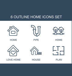 6 home icons vector