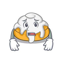 Afraid cinnamon roll mascot cartoon vector